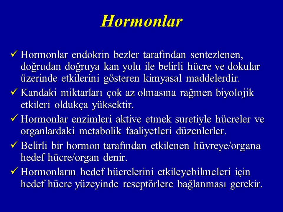Hormonlar Bir hedef hücrede belirli bir hormon için 2000- 10000 adet reseptör vardır.