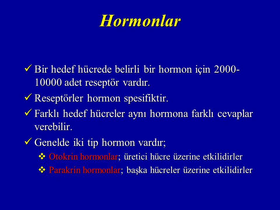 Feedback Mekanizması Hormonların salgı mekanizması feedback ile düzenlenir.