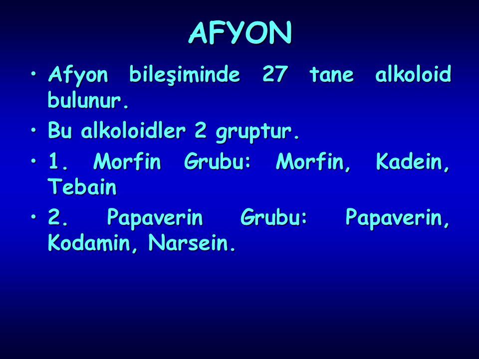 AFYON AfyonAfyon bileşiminde 27 tane alkoloid bulunur. BuBu alkoloidler 2 gruptur. 1.1. Morfin Grubu: Morfin, Kadein, Tebain 2.2. Papaverin Grubu: Pap