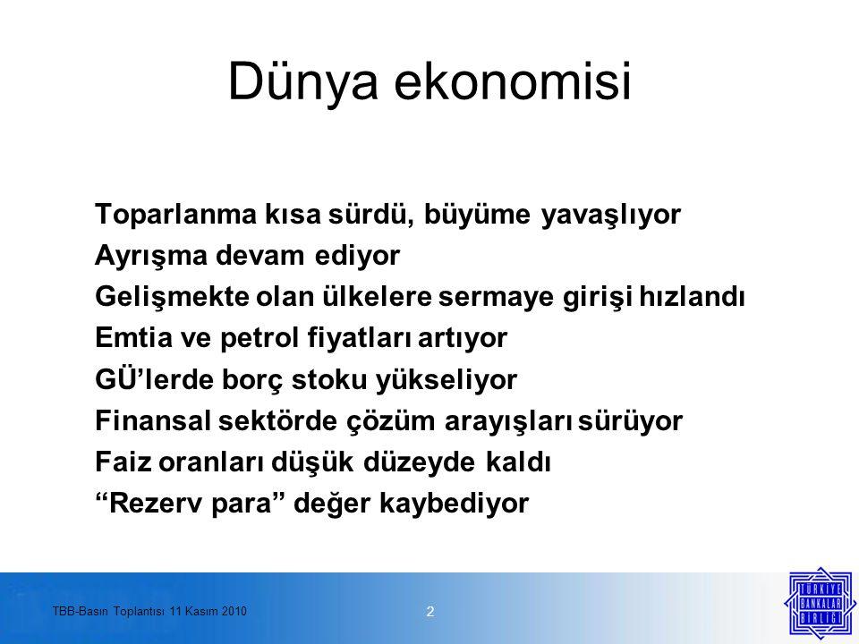 TBB-Basın Toplantısı 11 Kasım 2010 Türkiye'de tasarruf oranı son otuz yılın en düşük düzeyinde 13