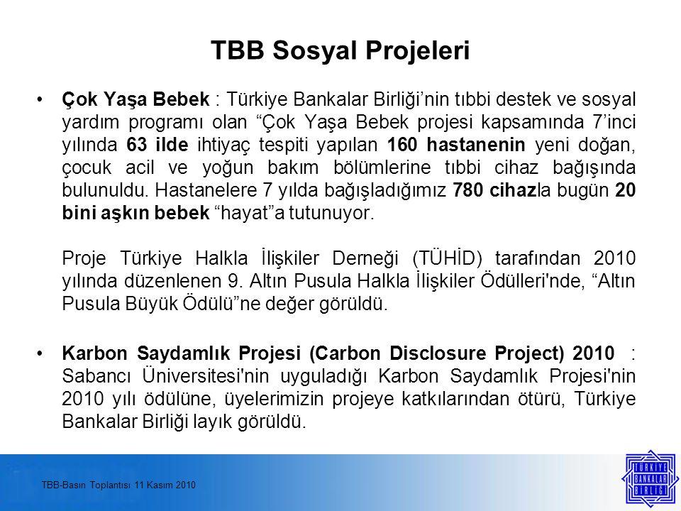 TBB Sosyal Projeleri Çok Yaşa Bebek : Türkiye Bankalar Birliği'nin tıbbi destek ve sosyal yardım programı olan Çok Yaşa Bebek projesi kapsamında 7'inci yılında 63 ilde ihtiyaç tespiti yapılan 160 hastanenin yeni doğan, çocuk acil ve yoğun bakım bölümlerine tıbbi cihaz bağışında bulunuldu.