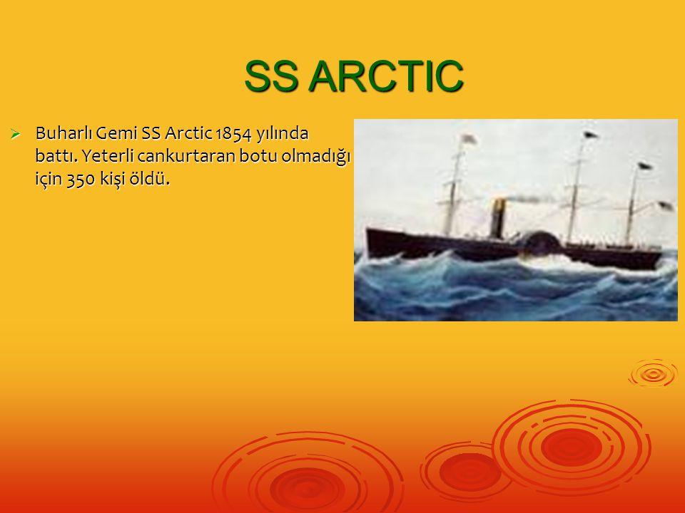  Buharlı Gemi SS Arctic 1854 yılında battı. Yeterli cankurtaran botu olmadığı için 350 kişi öldü. SS ARCTIC