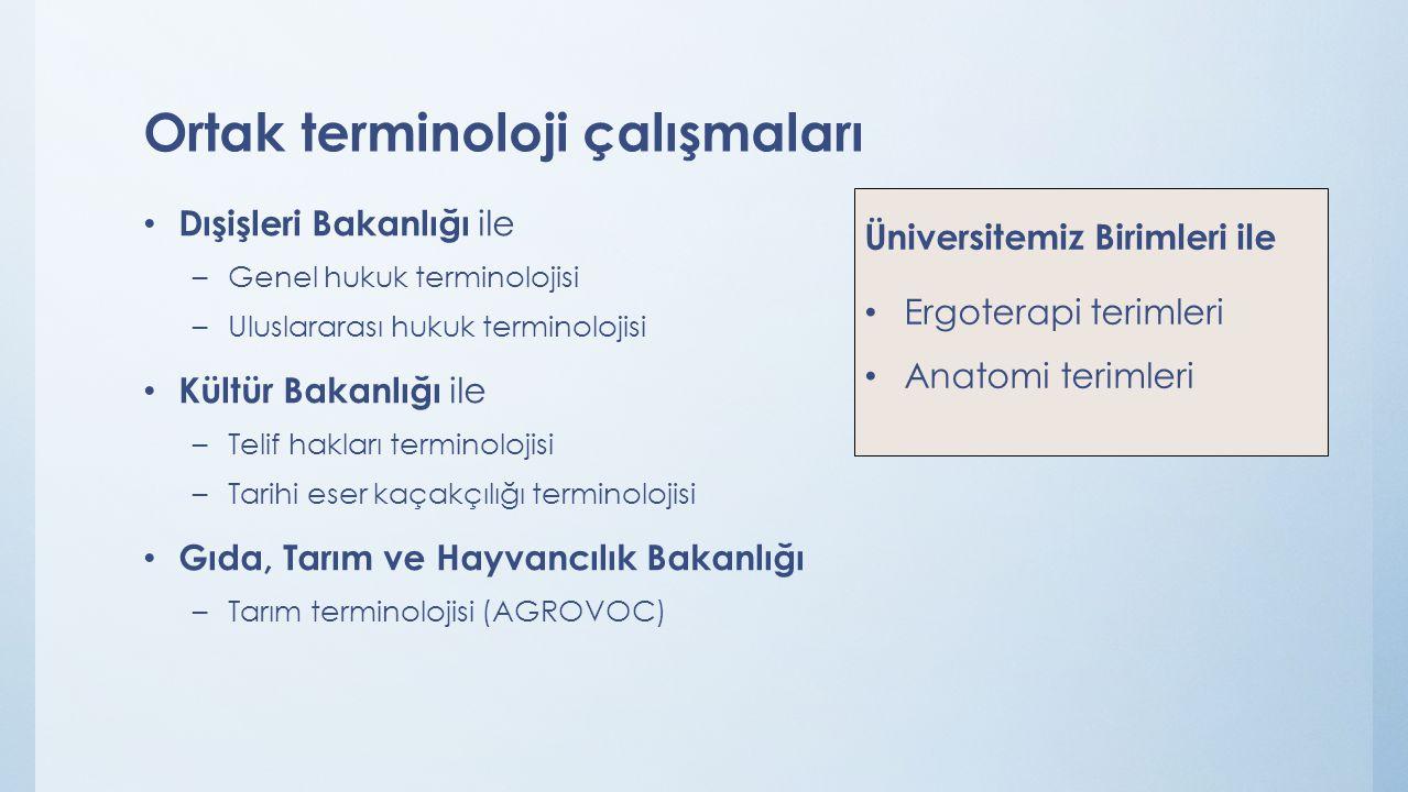 Ortak terminoloji çalışmaları Dışişleri Bakanlığı ile –Genel hukuk terminolojisi –Uluslararası hukuk terminolojisi Kültür Bakanlığı ile –Telif hakları