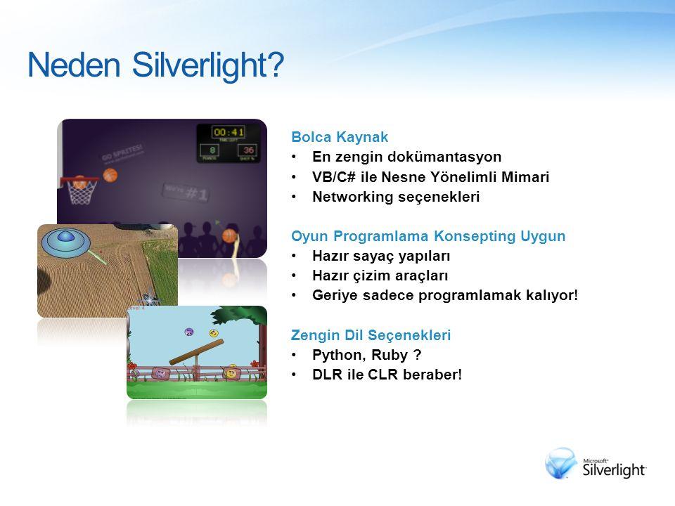 Neden Silverlight? Bolca Kaynak En zengin dokümantasyon VB/C# ile Nesne Yönelimli Mimari Networking seçenekleri Oyun Programlama Konsepting Uygun Hazı