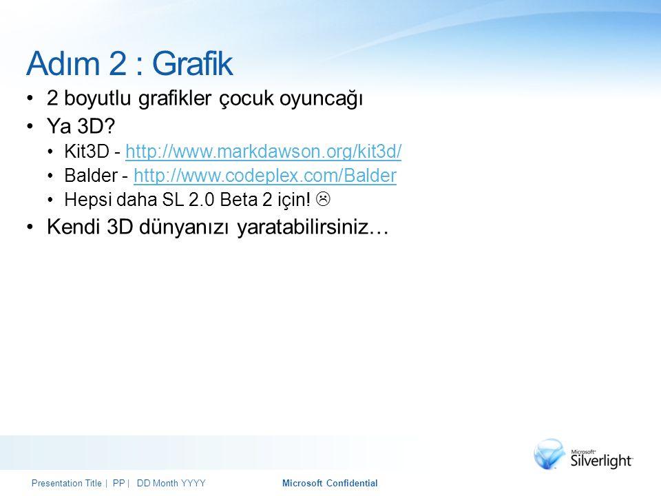 Adım 2 : Grafik 2 boyutlu grafikler çocuk oyuncağı Ya 3D? Kit3D - http://www.markdawson.org/kit3d/http://www.markdawson.org/kit3d/ Balder - http://www