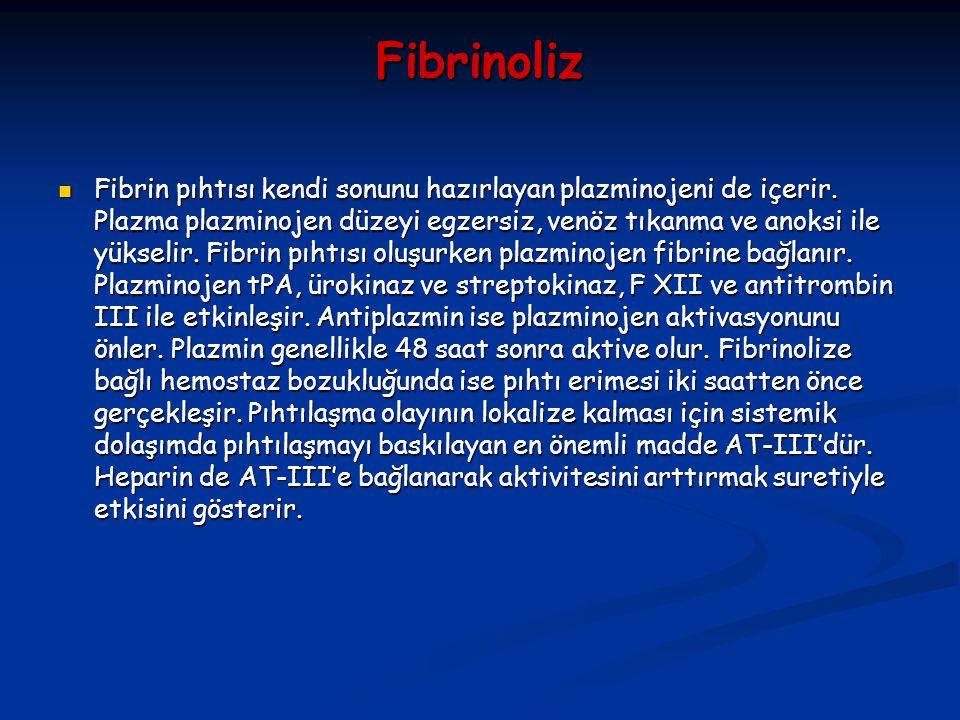 Fibrinoliz Fibrin pıhtısı kendi sonunu hazırlayan plazminojeni de içerir. Plazma plazminojen düzeyi egzersiz, venöz tıkanma ve anoksi ile yükselir. Fi