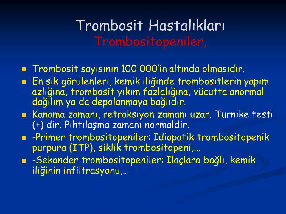 Trombosit Hastalıkları Trombositopeniler, Trombosit sayısının 100 000'in altında olmasıdır. En sık görülenleri, kemik iliğinde trombositlerin yapım az
