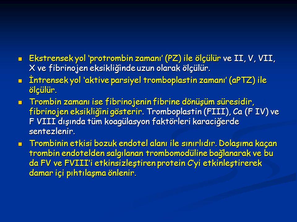 Ekstrensek yol 'protrombin zamanı' (PZ) ile ölçülür ve II, V, VII, X ve fibrinojen eksikliğinde uzun olarak ölçülür. Ekstrensek yol 'protrombin zamanı