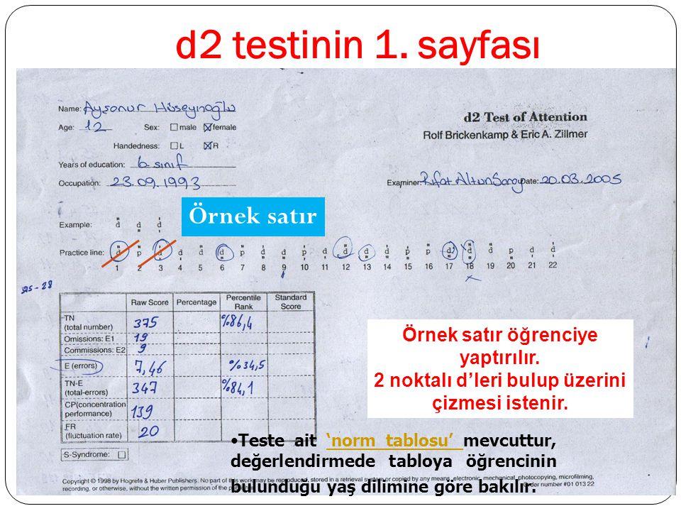 d2 testinin 1. sayfası Örnek satır Örnek satır öğrenciye yaptırılır. 2 noktalı d'leri bulup üzerini çizmesi istenir. Teste ait 'norm tablosu' mevcuttu