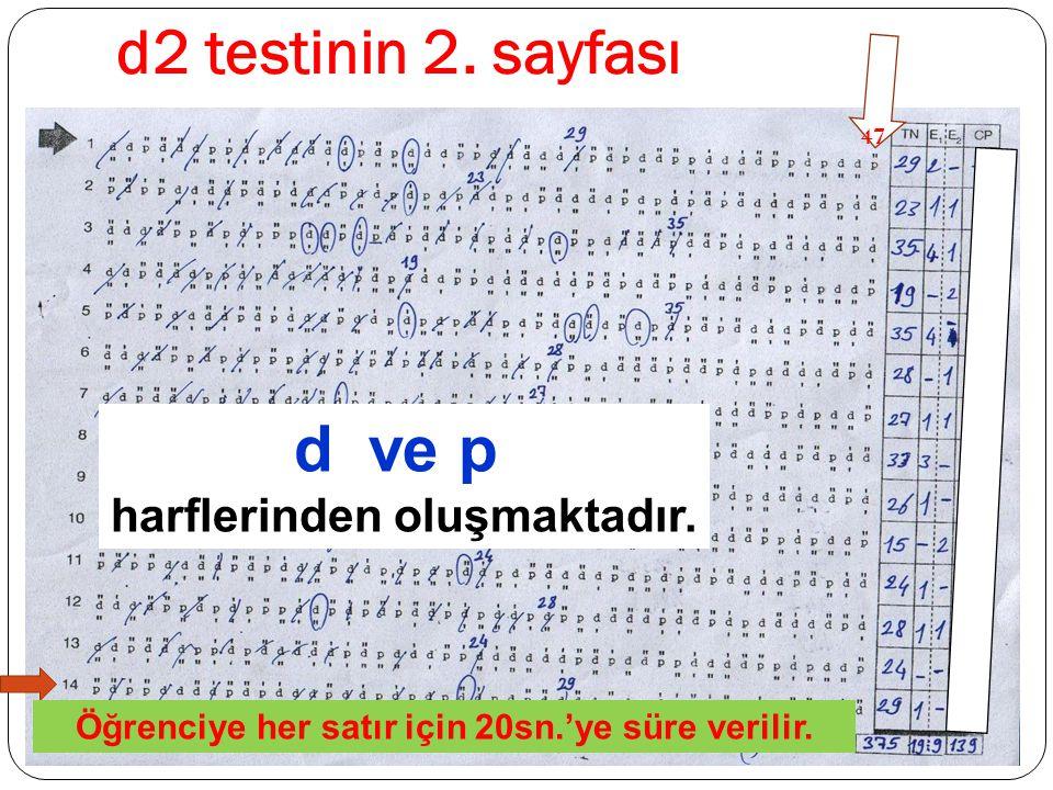 d2 testinin 2. sayfası 47 Öğrenciye her satır için 20sn.'ye süre verilir. d ve p harflerinden oluşmaktadır.