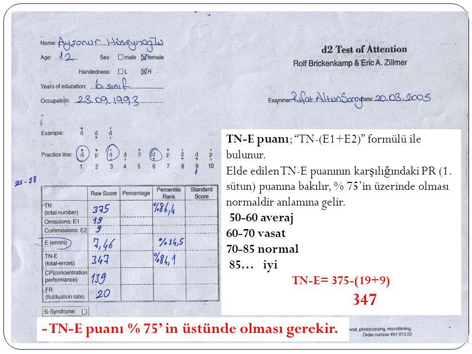 """TN-E puanı; """"TN-(E1+E2)"""" formülü ile bulunur. Elde edilen TN-E puanının kar ş ılı ğ ındaki PR (1. sütun) puanına bakılır, % 75'in üzerinde olması norm"""