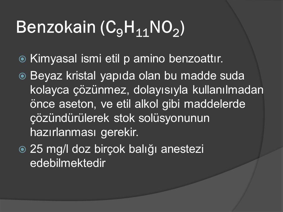 Benzokain (C 9 H 11 NO 2 )  Kimyasal ismi etil p amino benzoattır.  Beyaz kristal yapıda olan bu madde suda kolayca çözünmez, dolayısıyla kullanılma