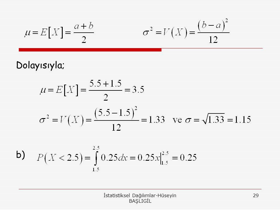 İstatistiksel Dağılımlar-Hüseyin BAŞLIGİL 29 Dolayısıyla; b)