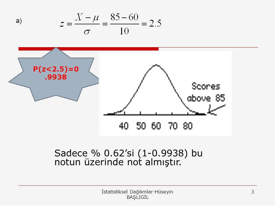 3 P(z<2.5)=0.9938 Sadece % 0.62'si (1-0.9938) bu notun üzerinde not almıştır. a)