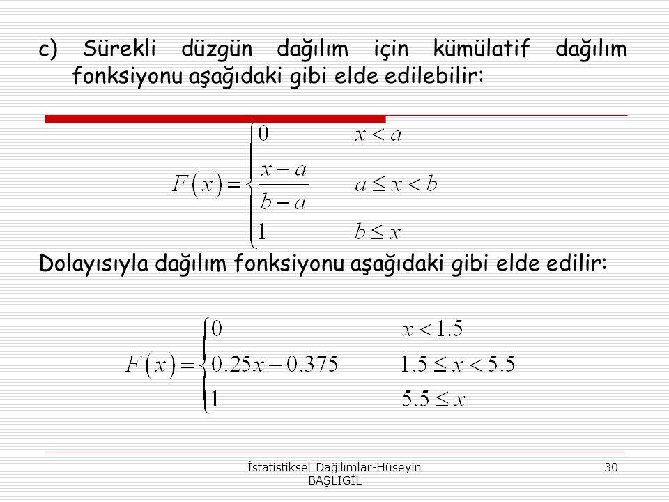 İstatistiksel Dağılımlar-Hüseyin BAŞLIGİL 30 c) Sürekli düzgün dağılım için kümülatif dağılım fonksiyonu aşağıdaki gibi elde edilebilir: Dolayısıyla d