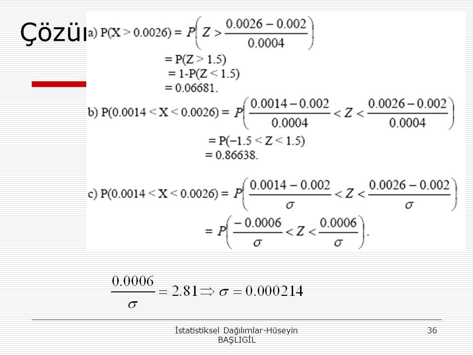 Çözüm İstatistiksel Dağılımlar-Hüseyin BAŞLIGİL 36