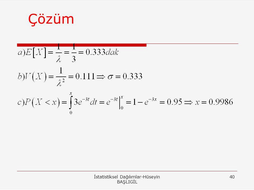 Çözüm İstatistiksel Dağılımlar-Hüseyin BAŞLIGİL 40