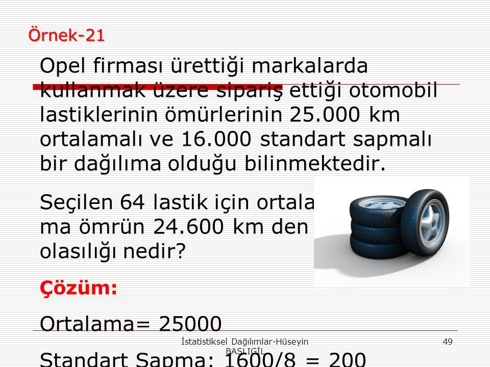 Örnek-21 Opel firması ürettiği markalarda kullanmak üzere sipariş ettiği otomobil lastiklerinin ömürlerinin 25.000 km ortalamalı ve 16.000 standart sa