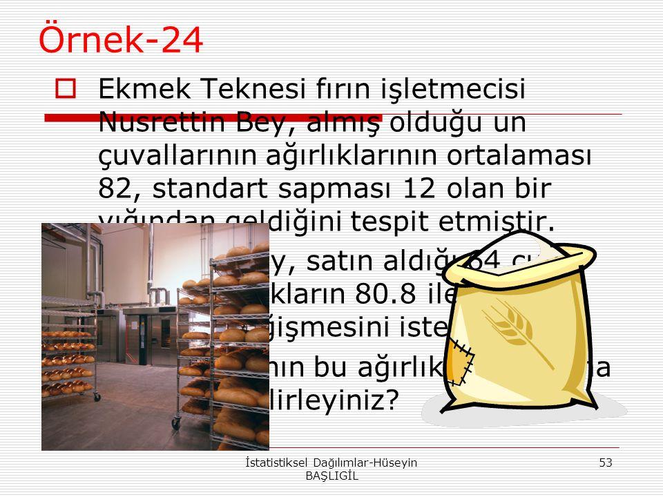 Örnek-24  Ekmek Teknesi fırın işletmecisi Nusrettin Bey, almış olduğu un çuvallarının ağırlıklarının ortalaması 82, standart sapması 12 olan bir yığı