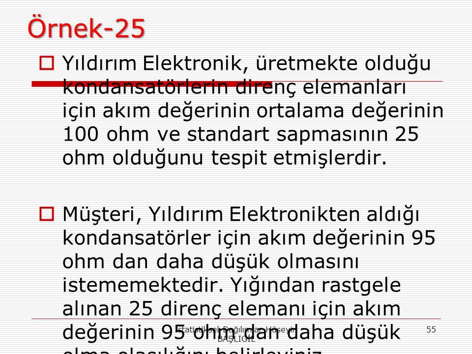 Örnek-25  Yıldırım Elektronik, üretmekte olduğu kondansatörlerin direnç elemanları için akım değerinin ortalama değerinin 100 ohm ve standart sapması