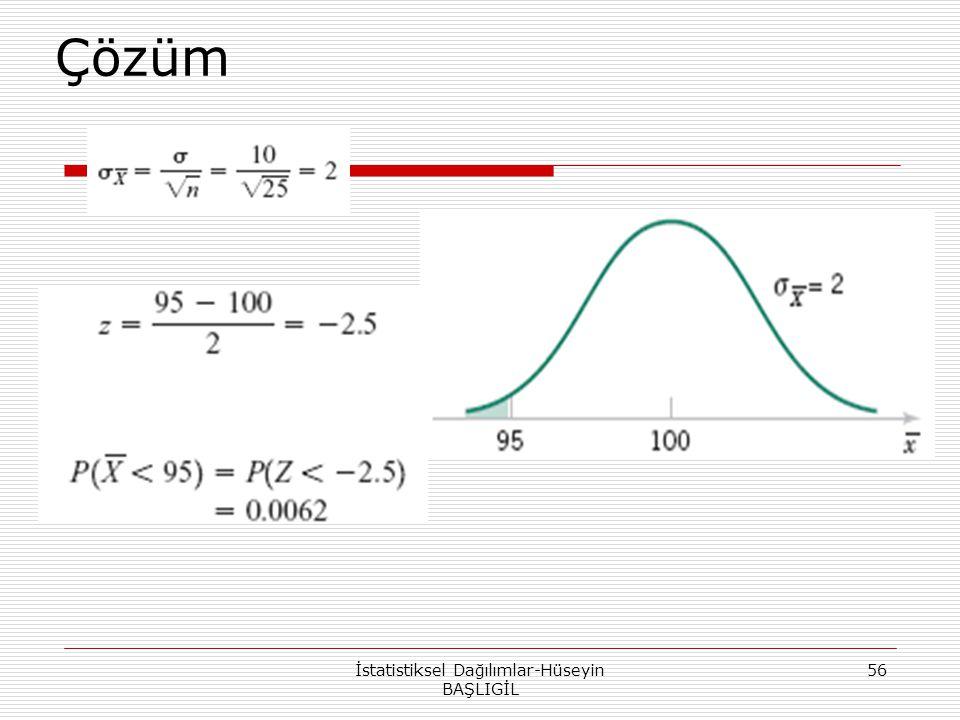 Çözüm İstatistiksel Dağılımlar-Hüseyin BAŞLIGİL 56