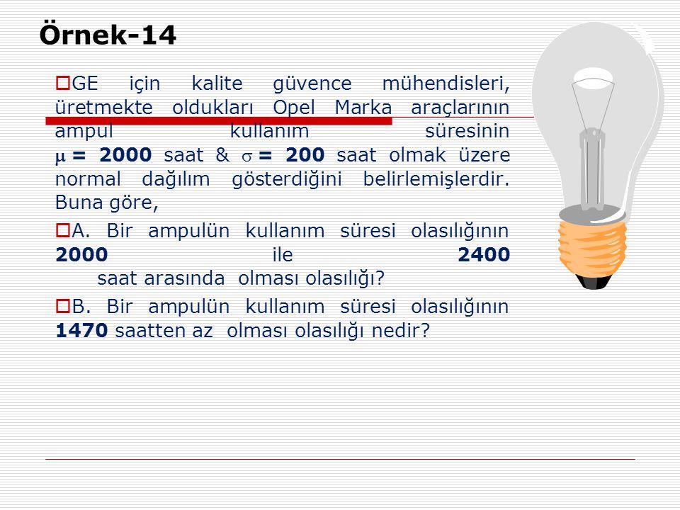 Örnek-14  GE için kalite güvence mühendisleri, üretmekte oldukları Opel Marka araçlarının ampul kullanım süresinin = 2000 saat & = 200 saat olmak
