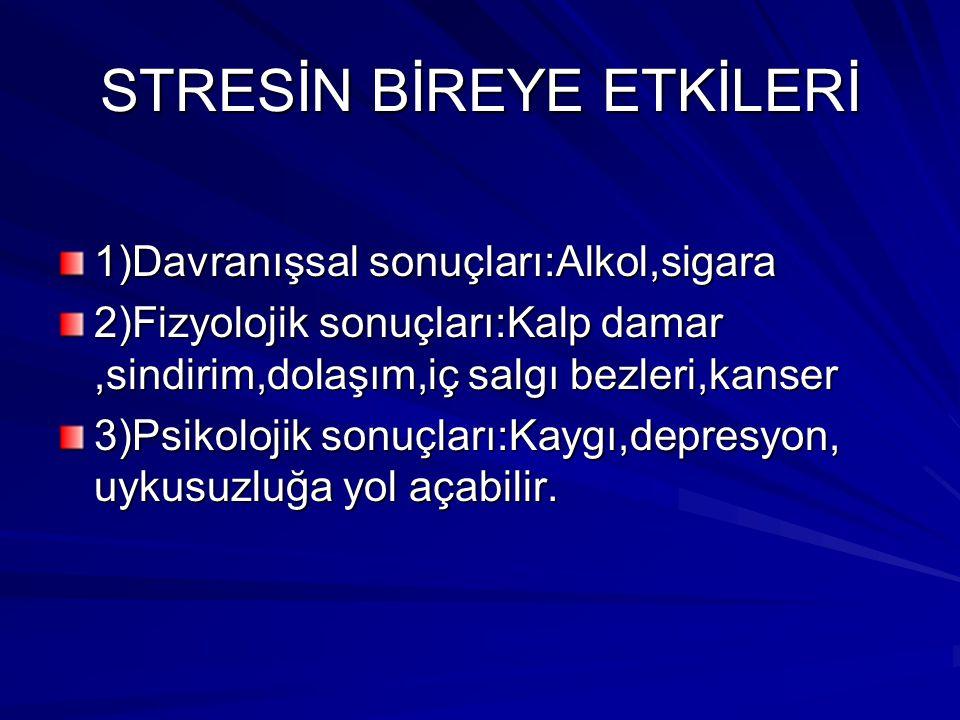 STRESİN BİREYE ETKİLERİ 1)Davranışsal sonuçları:Alkol,sigara 2)Fizyolojik sonuçları:Kalp damar,sindirim,dolaşım,iç salgı bezleri,kanser 3)Psikolojik s