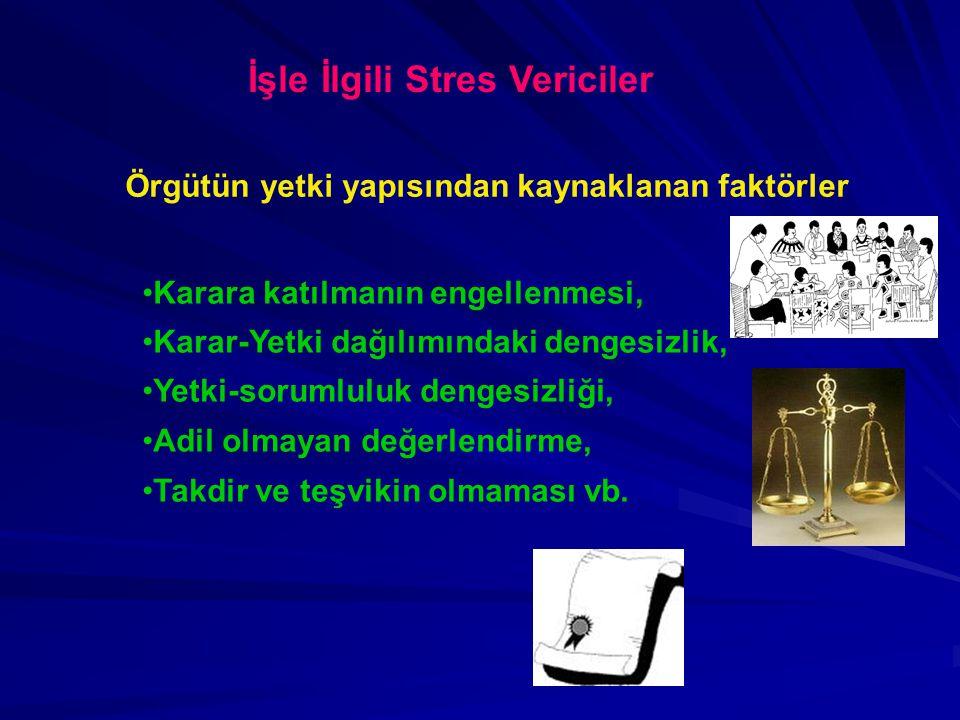İşle İlgili Stres Vericiler Örgütün yetki yapısından kaynaklanan faktörler Karara katılmanın engellenmesi, Karar-Yetki dağılımındaki dengesizlik, Yetk