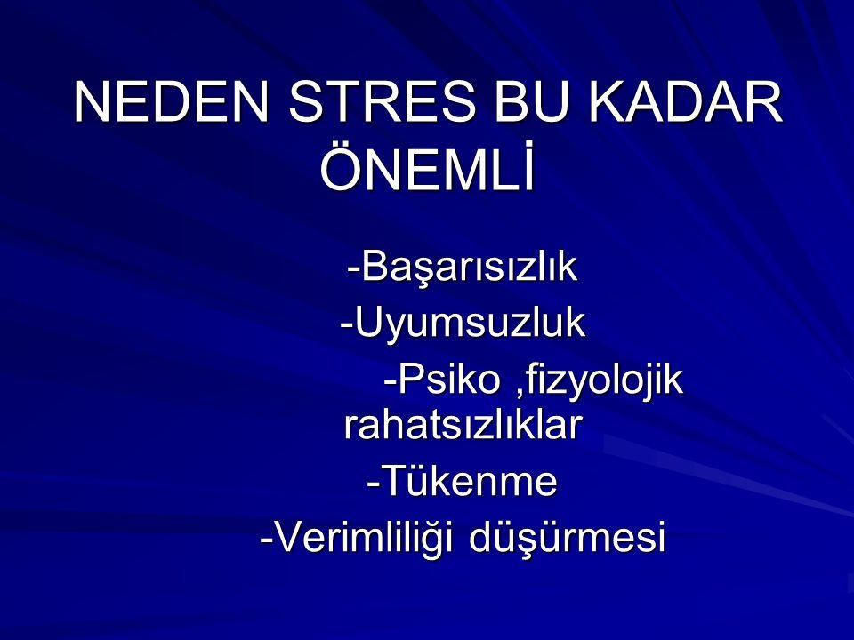 NEDEN STRES BU KADAR ÖNEMLİ -Başarısızlık-Uyumsuzluk -Psiko,fizyolojik rahatsızlıklar -Psiko,fizyolojik rahatsızlıklar-Tükenme -Verimliliği düşürmesi