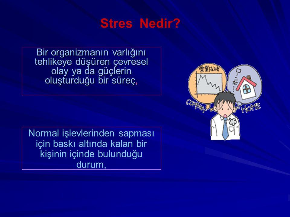 Stres Nedir? Bir organizmanın varlığını tehlikeye düşüren çevresel olay ya da güçlerin oluşturduğu bir süreç, Normal işlevlerinden sapması için baskı