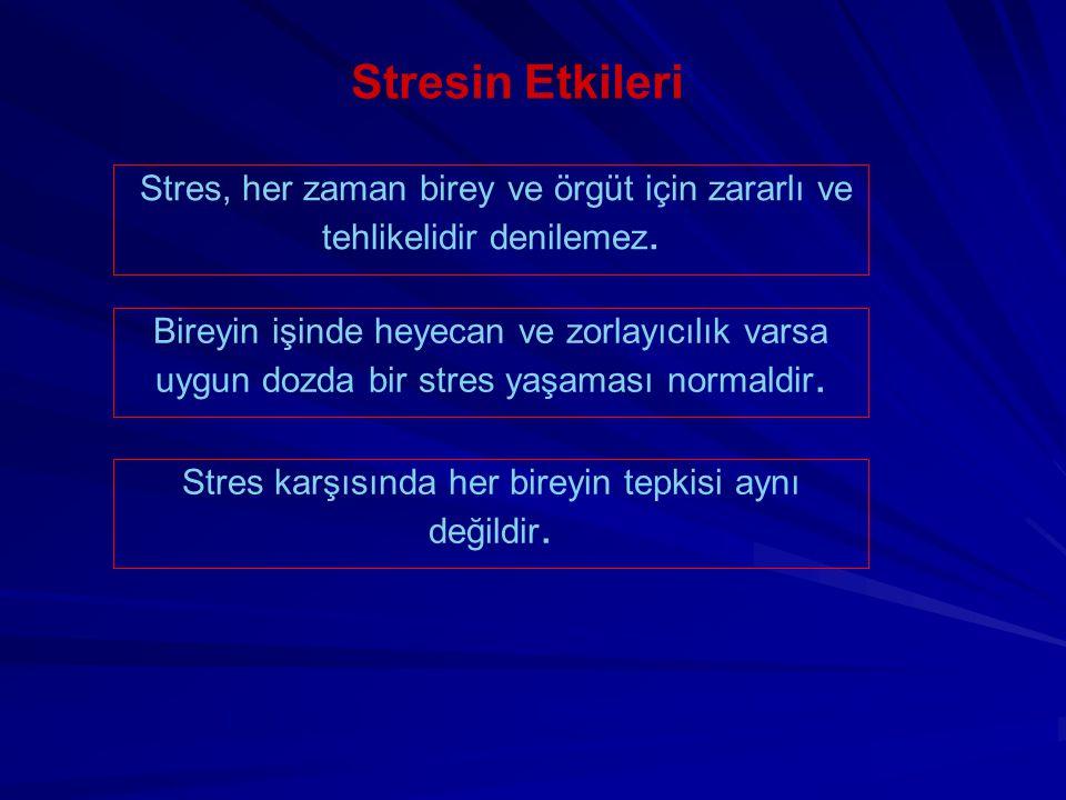 Stresin Etkileri Stres, her zaman birey ve örgüt için zararlı ve tehlikelidir denilemez. Bireyin işinde heyecan ve zorlayıcılık varsa uygun dozda bir