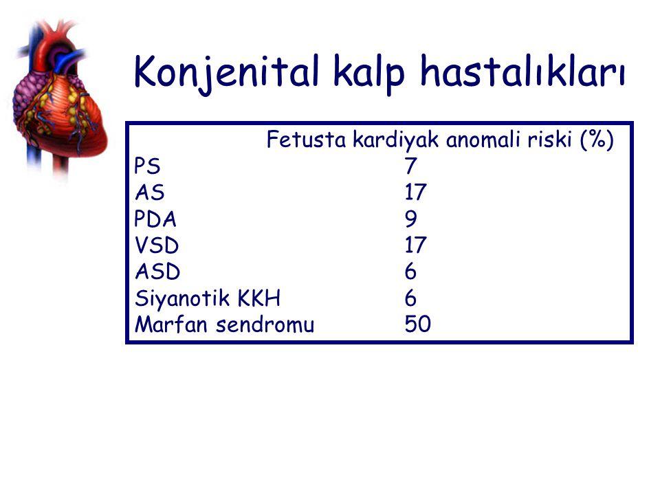 Konjenital kalp hastalıkları Fetusta kardiyak anomali riski (%) PS 7 AS 17 PDA 9 VSD 17 ASD 6 Siyanotik KKH 6 Marfan sendromu 50