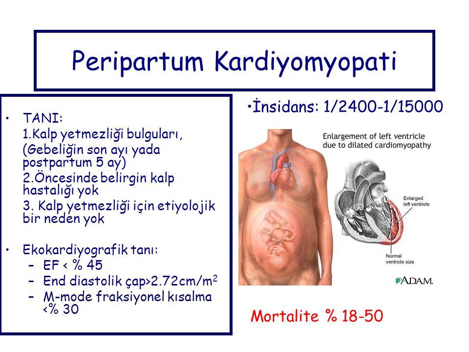 Peripartum Kardiyomyopati TANI: 1.Kalp yetmezliği bulguları, (Gebeliğin son ayı yada postpartum 5 ay) 2.Öncesinde belirgin kalp hastalığı yok 3.