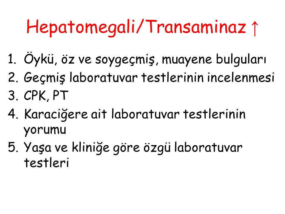 1.Öykü, öz ve soygeçmiş, muayene bulguları 2.Geçmiş laboratuvar testlerinin incelenmesi 3.CPK, PT 4.Karaciğere ait laboratuvar testlerinin yorumu 5.Ya