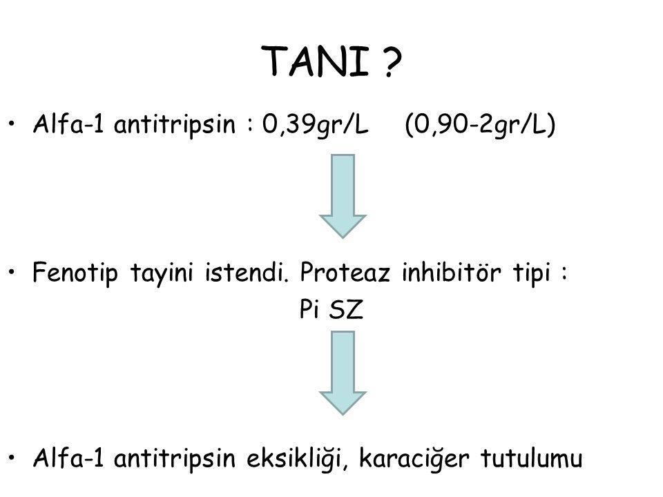 TANI ? Alfa-1 antitripsin : 0,39gr/L(0,90-2gr/L) Fenotip tayini istendi. Proteaz inhibitör tipi : Pi SZ Alfa-1 antitripsin eksikliği, karaciğer tutulu
