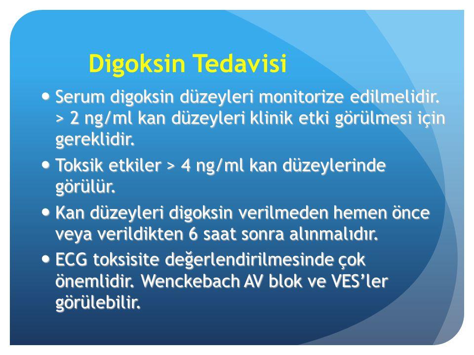 Digoksin Tedavisi Serum digoksin düzeyleri monitorize edilmelidir. > 2 ng/ml kan düzeyleri klinik etki görülmesi için gereklidir. Serum digoksin düzey