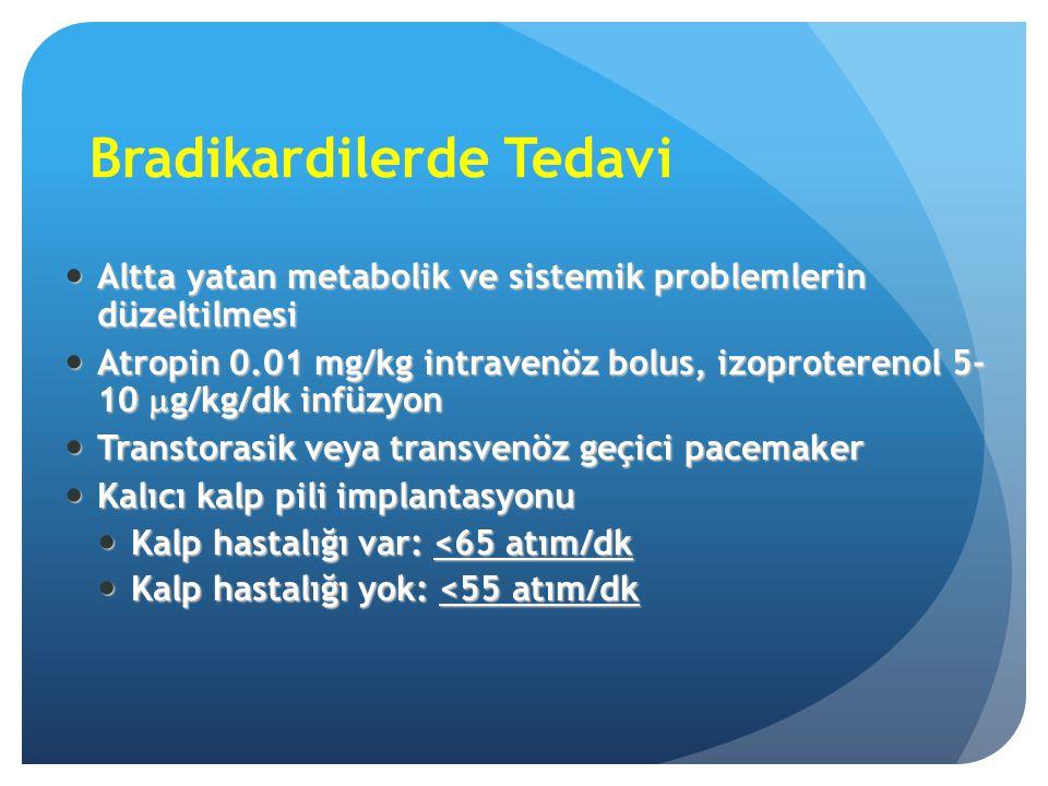 Bradikardilerde Tedavi Altta yatan metabolik ve sistemik problemlerin düzeltilmesi Altta yatan metabolik ve sistemik problemlerin düzeltilmesi Atropin