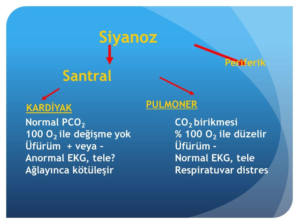 Siyanoz Santral Periferik KARDİYAK PULMONER Normal PCO 2 CO 2 birikmesi 100 O 2 ile değişme yok% 100 O 2 ile düzelir Üfürüm + veya - Üfürüm - Anormal