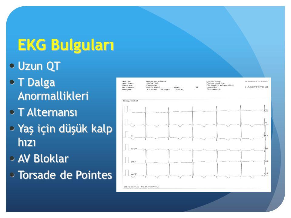 EKG Bulguları Uzun QT Uzun QT T Dalga Anormallikleri T Dalga Anormallikleri T Alternansı T Alternansı Yaş için düşük kalp hızı Yaş için düşük kalp hız