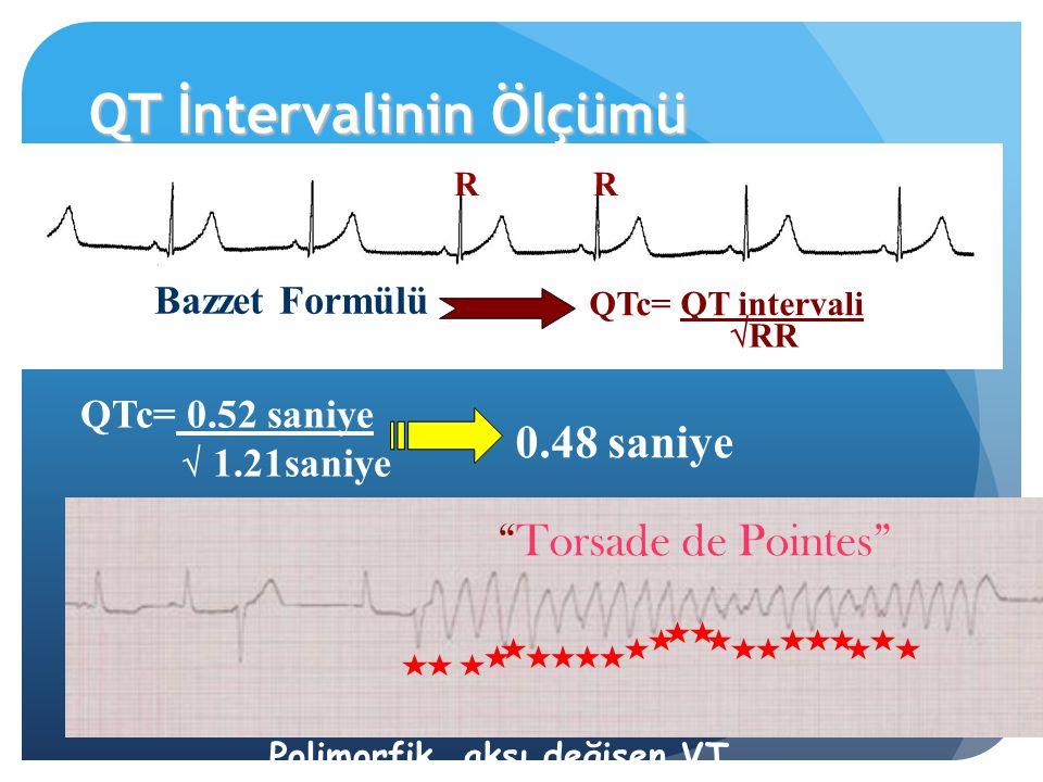"""QT İntervalinin Ölçümü QTc= QT intervali Bazzet Formülü  RR RR QTc= 0.52 saniye  1.21saniye 0.48 saniye Polimorfik, aksı değişen VT """"Torsade de Poin"""