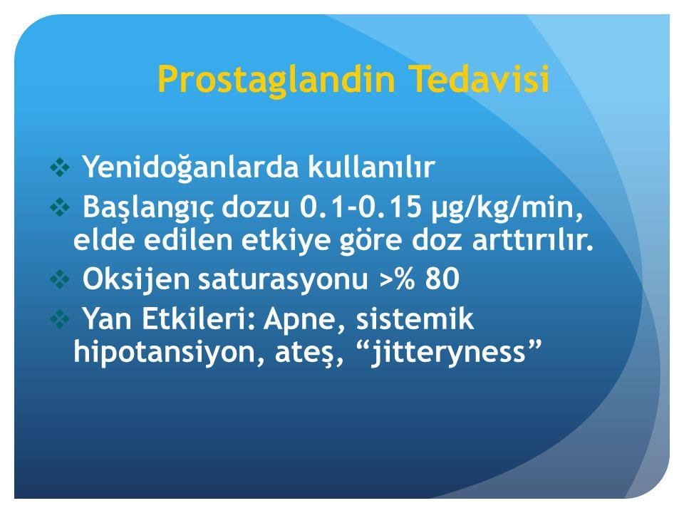 Prostaglandin Tedavisi  Yenidoğanlarda kullanılır  Başlangıç dozu 0.1-0.15 µg/kg/min, elde edilen etkiye göre doz arttırılır.  Oksijen saturasyonu