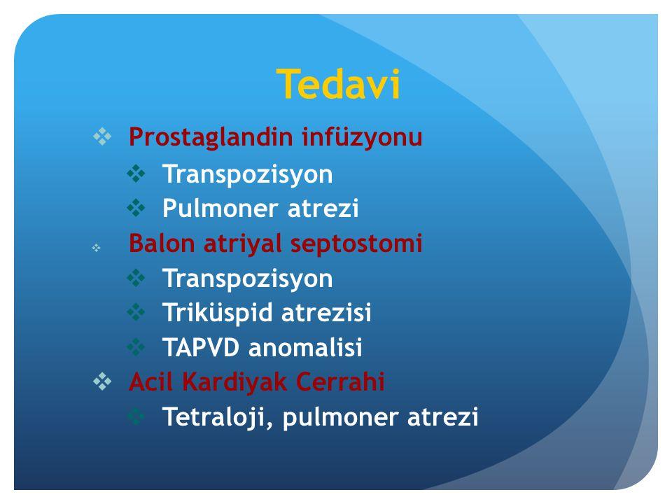 Tedavi  Prostaglandin infüzyonu  Transpozisyon  Pulmoner atrezi  Balon atriyal septostomi  Transpozisyon  Triküspid atrezisi  TAPVD anomalisi 