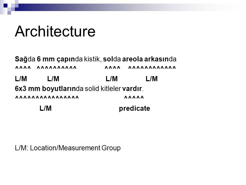 Architecture Sağda 6 mm çapında kistik, solda areola arkasında ^^^^ ^^^^^^^^^^ ^^^^ ^^^^^^^^^^^^ L/M L/M 6x3 mm boyutlarında solid kitleler vardır. ^^