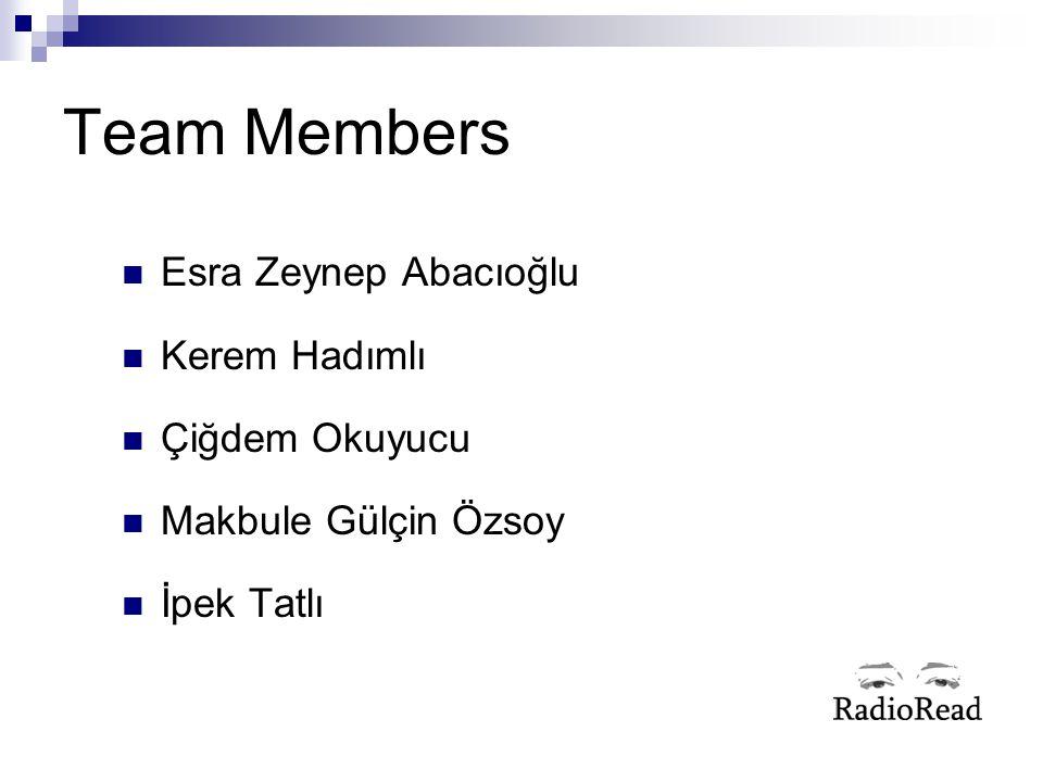 Team Members Esra Zeynep Abacıoğlu Kerem Hadımlı Çiğdem Okuyucu Makbule Gülçin Özsoy İpek Tatlı