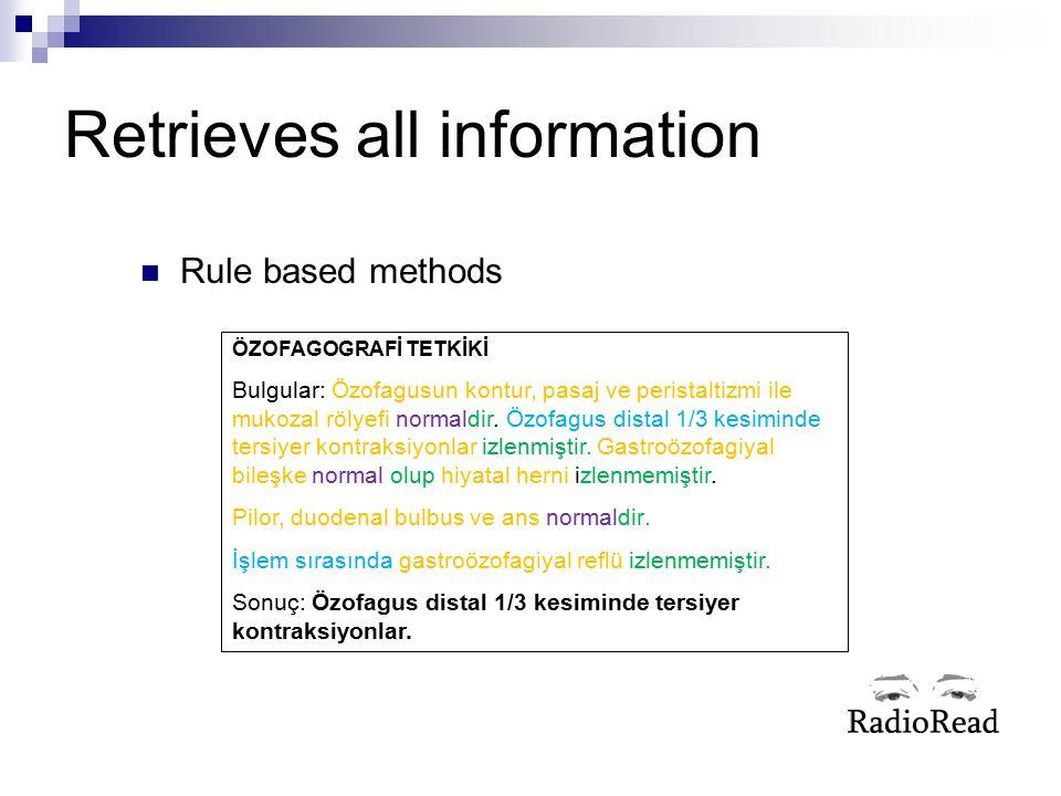 Retrieves all information Rule based methods ÖZOFAGOGRAFİ TETKİKİ Bulgular: Özofagusun kontur, pasaj ve peristaltizmi ile mukozal rölyefi normaldir. Ö