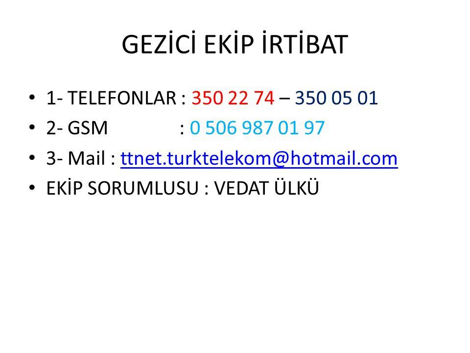 GEZİCİ EKİP İRTİBAT 1- TELEFONLAR : 350 22 74 – 350 05 01 2- GSM : 0 506 987 01 97 3- Mail : ttnet.turktelekom@hotmail.comttnet.turktelekom@hotmail.co