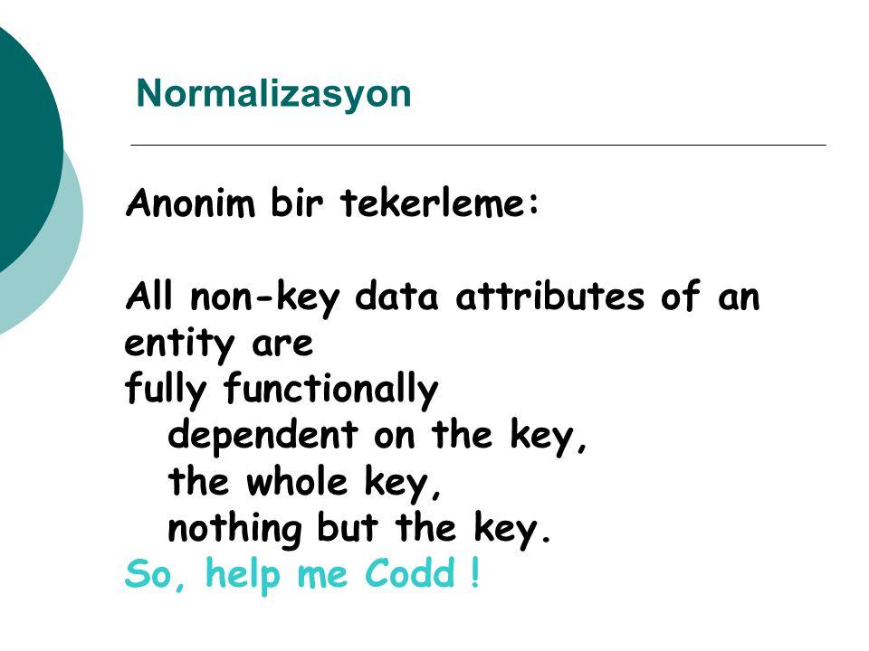 Normalizasyon: Bir fatura örneği Bir nesnenin bütün anahtar-dışı ögeleri, tamamen ve fonksiyonel olarak Anahtara bağlıdır (1 NF), Anahtarın bütününe bağlıdır (2 NF), Anahtardan başkasına bağlı değildir (3 NF).