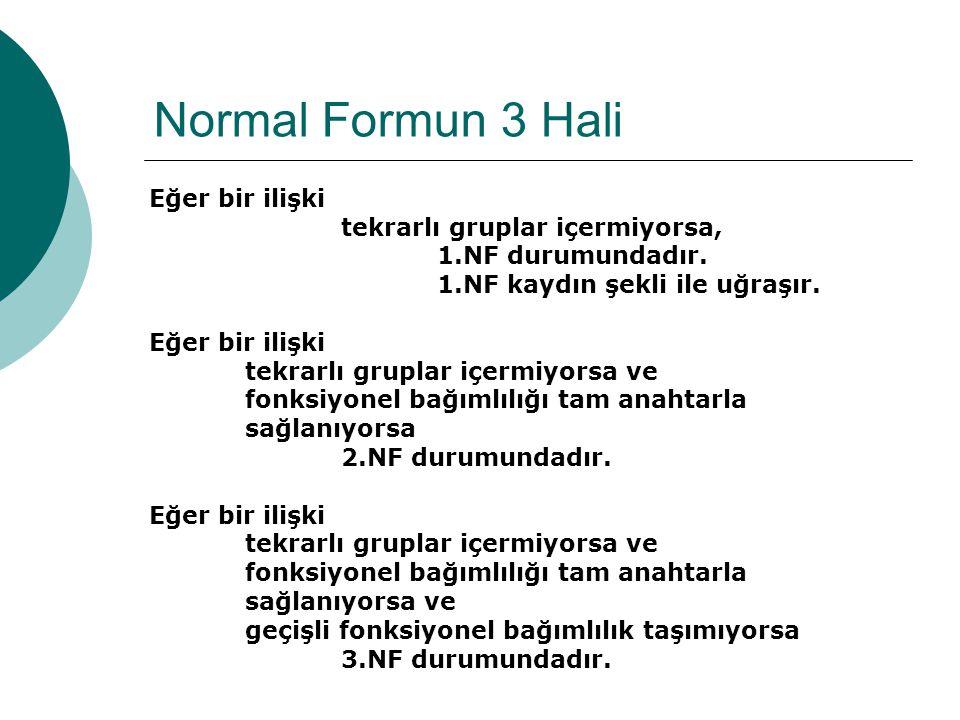 Normal Formun 3 Hali Eğer bir ilişki tekrarlı gruplar içermiyorsa, 1.NF durumundadır.
