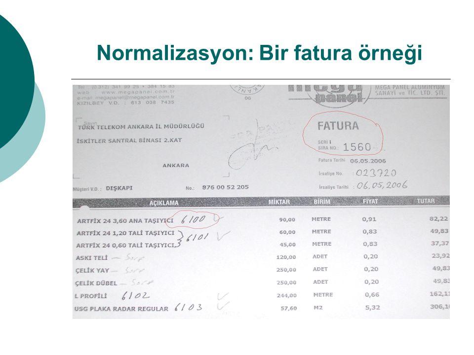 Normalizasyon: Bir fatura örneği
