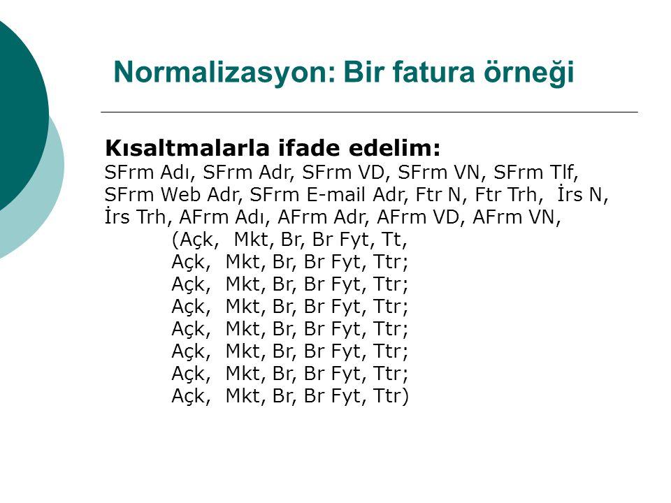 Normalizasyon: Bir fatura örneği Kısaltmalarla ifade edelim: SFrm Adı, SFrm Adr, SFrm VD, SFrm VN, SFrm Tlf, SFrm Web Adr, SFrm E-mail Adr, Ftr N, Ftr Trh, İrs N, İrs Trh, AFrm Adı, AFrm Adr, AFrm VD, AFrm VN, (Açk, Mkt, Br, Br Fyt, Tt, Açk, Mkt, Br, Br Fyt, Ttr; Açk, Mkt, Br, Br Fyt, Ttr)